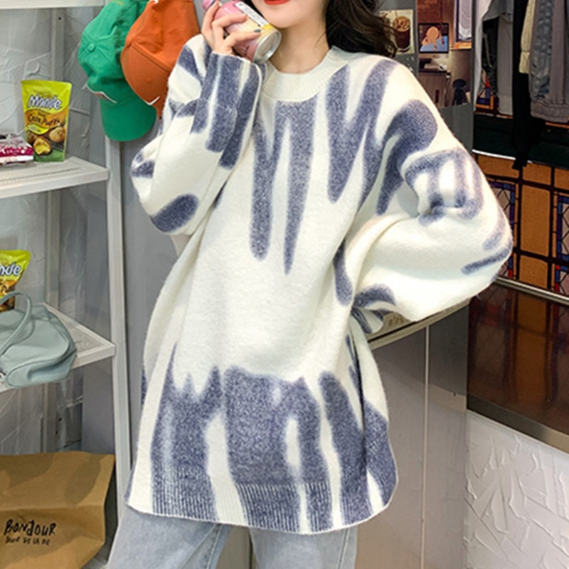 Green Striped Print Knitted Sweater Women Oversized Pullovers Autumn Winter Elegant Long Sweaters Streetwear Loose Outerwear enlarge