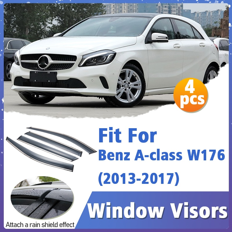 Window Visors Guard for Benz A-class W176 2013-2017 Cover Trim Awnings Shelters Protection Guard Deflector Rain Rhield 4pcs
