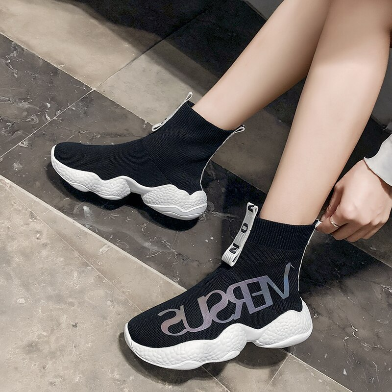 Slip On High Top zapatos reflectantes para mujeres zapatos planos cómodos para mujeres zapatos casuales Mujer Zapatos Zapatillas de planos 2019 calcetines Zapatos W