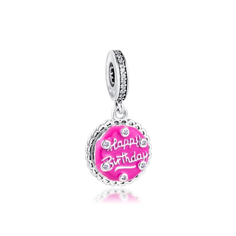 Se adapta para 925 pulseras de plata rosa pastel de cumpleaños pendientes cuentas de encanto DIY para hacer joyería océano encantos de plata esterlina