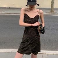 strap bodycon mini dress v neck sexy leopard print dress women backless summer dress short sleeveless party casual long