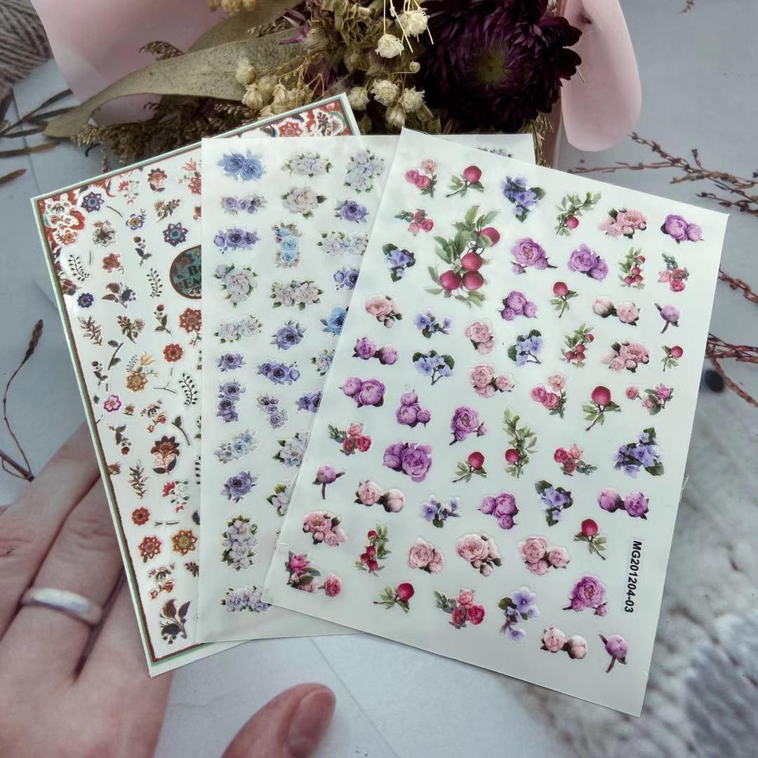 3D Nail Sticker Flower Design DIY Tips Nail Art Ornament Packaging Self Adhesive Transfer Decal Slider