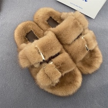 New Ladies Slippers 100% High Quality Mink Slippers Real Mink Slippers Casual Flat Shoes Home Shoes
