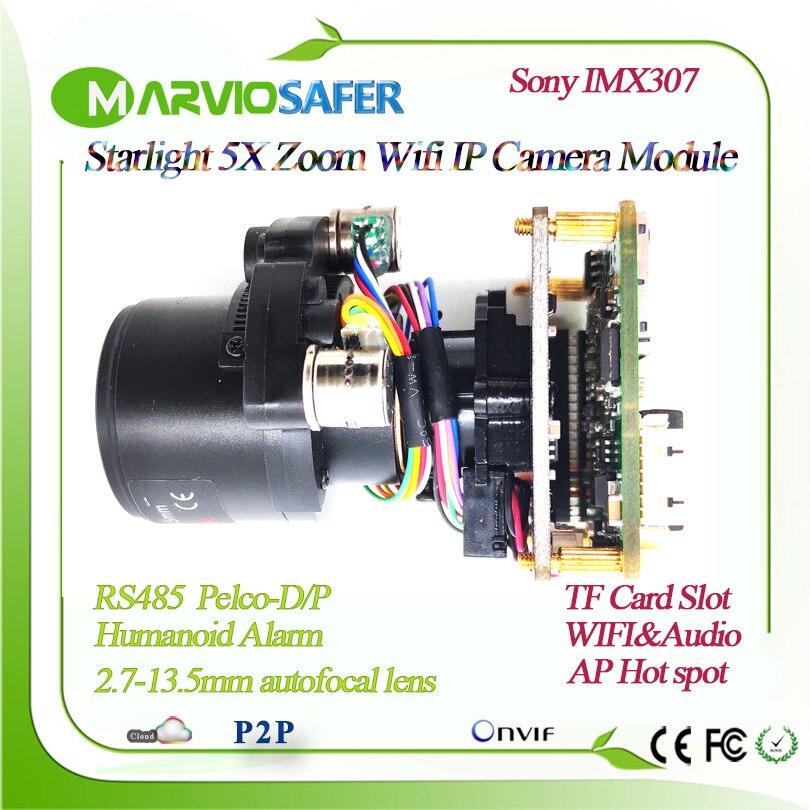H.265 Starlight FULL HD WIFI IP PTZ módulo de cámara motorizado auto-focal 2,7-13,5mm lente Zoom TF ranura para tarjeta RS485 detección humana