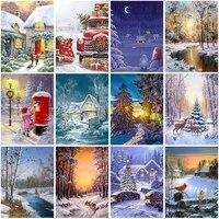 diy 5d diamond painting winter snow scenery full diamond embroidery square mosaic landscape cross stitch wall art home decor