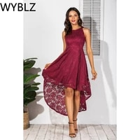wyblz evening party lace long dress woman summer red sexy cocktail midi dresses sleeveless elegant fashion club clothes 2021