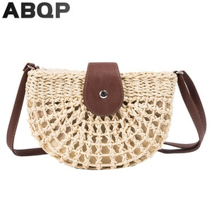 ABQP Women Straw Bags Designers Round Shape Female Summer Beach Bag Leather Strap Girl's Cross Body Woven Straw Bags