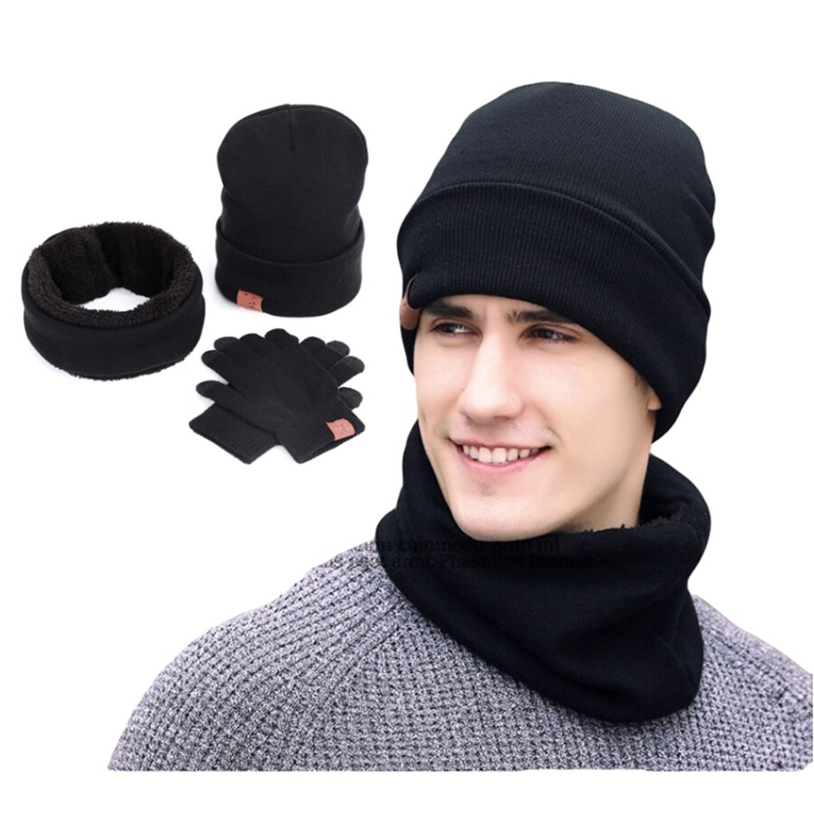 Sets 3 Winter Unisex Knitted Beanies Hats Men Warm Hat With Bib Touch Screen Gloves Women Bonnet Beanie Cap Outdoor Riding Set
