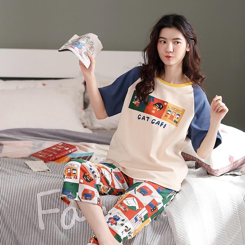 plus size pajama women sleepwear summer cotton ladies pajamas short-sleeved pants home service suit thin section