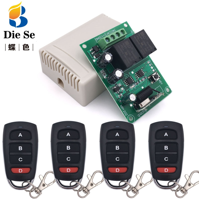 110v220v 12ch rf wireless remote control switch system 2 transmitters and 12 receiver for garage door rf 433mhz 315mhz sku 5451 433MHz Universal Garage Door Motor Remote Controller DC 12V rf Relay Receiver for Remote Control Motor Forward and Backward