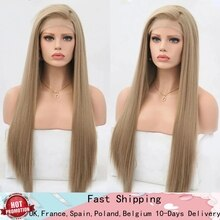 RONGDUOYI Long Silky Straight Lace Wig Synthetic Lace Front Wigs for Women Ash Blonde Wig High Temperature Fiber Cosplay Wigs