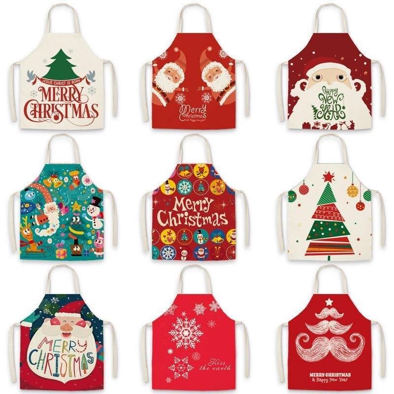 Высококачественные рождественские антижирные Кухонные фартуки для приготовления пищи нагрудники для взрослых хлопковые льняные фартуки ...