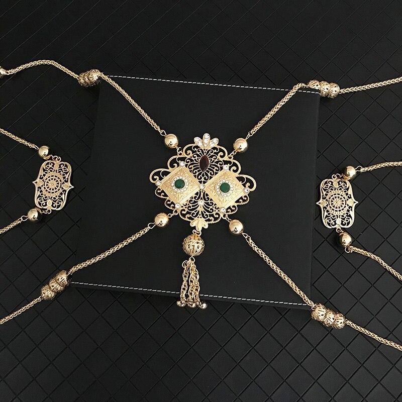 المغرب سبائك الزنك معدن الجسم سلسلة اليدوية قلادة فستان الزفاف مجوهرات ماركة كريستال الكتف سلسلة العرقية اكسسوارات