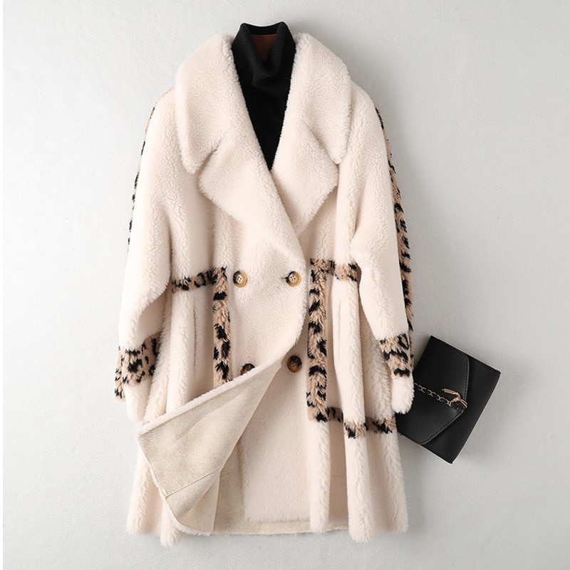 New Style Beige Female Granular Velvet Winter Warm Wool Fall Coat Turn-Down Collar Leopard Mid-Length Stitching Coats Women