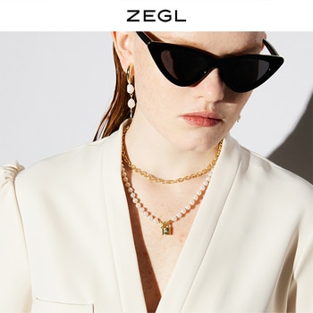 ZEGL Retro Baroque Artificial Pearl Small Lock Necklace for Women Light Luxury Minority Double Layer Twin Clavicle Chain Sweater
