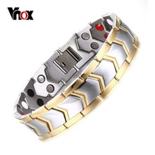 Vnox Healthy Stainless Steel Magnetotherapy Bracelet Men Jewelry New Fashion Bio Energy Magnet Bracelets & Bangles