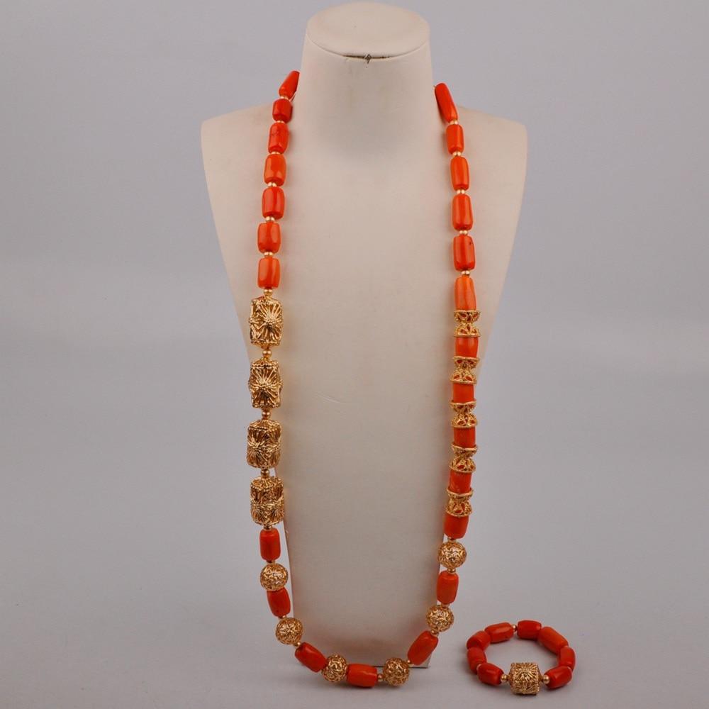البرتقال النيجيري المرجان الخرز الرجال طقم مجوهرات العروس العريس الأفريقي طقم مجوهرات الزفاف المرجان قلادة مجموعة