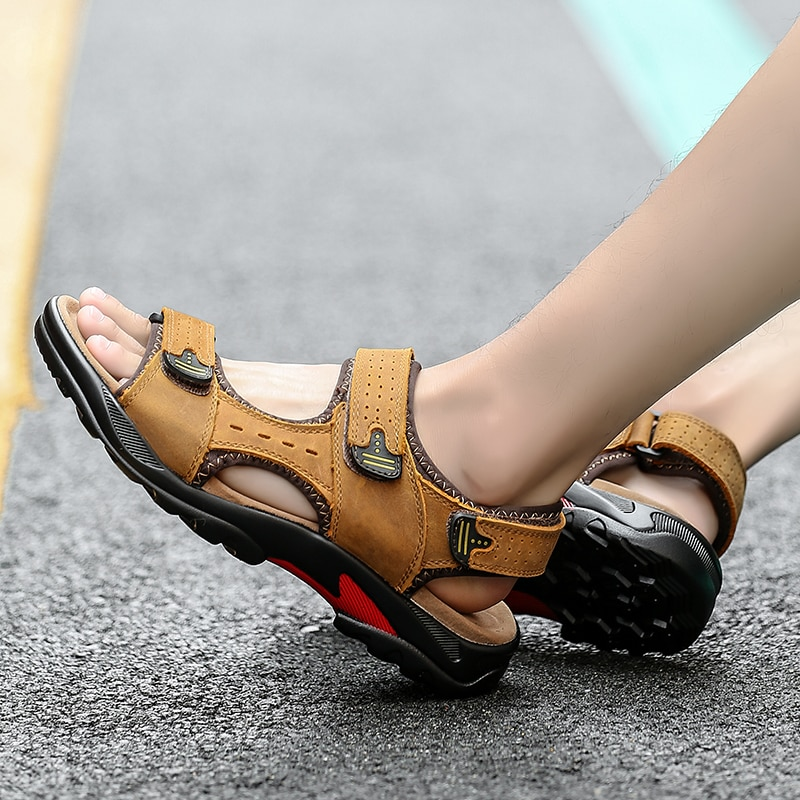 summer men sandals breathable beach shoes hook New Men Sandals Genuine Leather Breathable Sandals Shoes Casual Comfortable Summer Beach Summer Men Shoes Outdoor Large Size