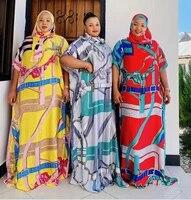 africa fashion blogger recommend 2021 printed silk abayas maxi dresses loose summer beach bohemian kaftan long dress for lady