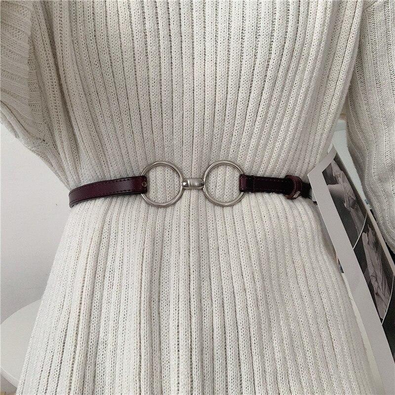 Korean Ins Style Leather Belt Women's Thin Fashion Matching Skirt Coat Decoration Black Belt Retro A