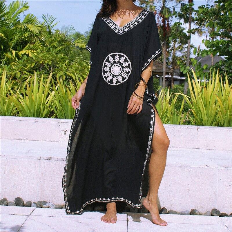 Plus size algodão preto maxi vestido com bordado praia sarong vestidos verano 2020 casual vestido longo sexy vestido de praia feminino