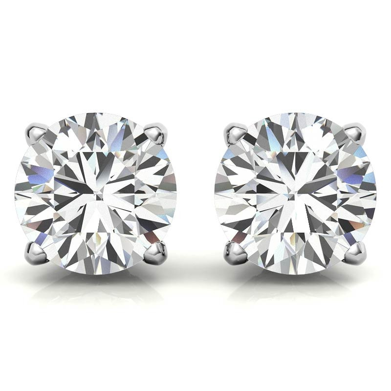 OEVAS 100% 925 Sterling Silver Real 2 Carat 8mm Moissanite Four Claws Stud Earrings For Women Sparkling Wedding Fine Jewelry