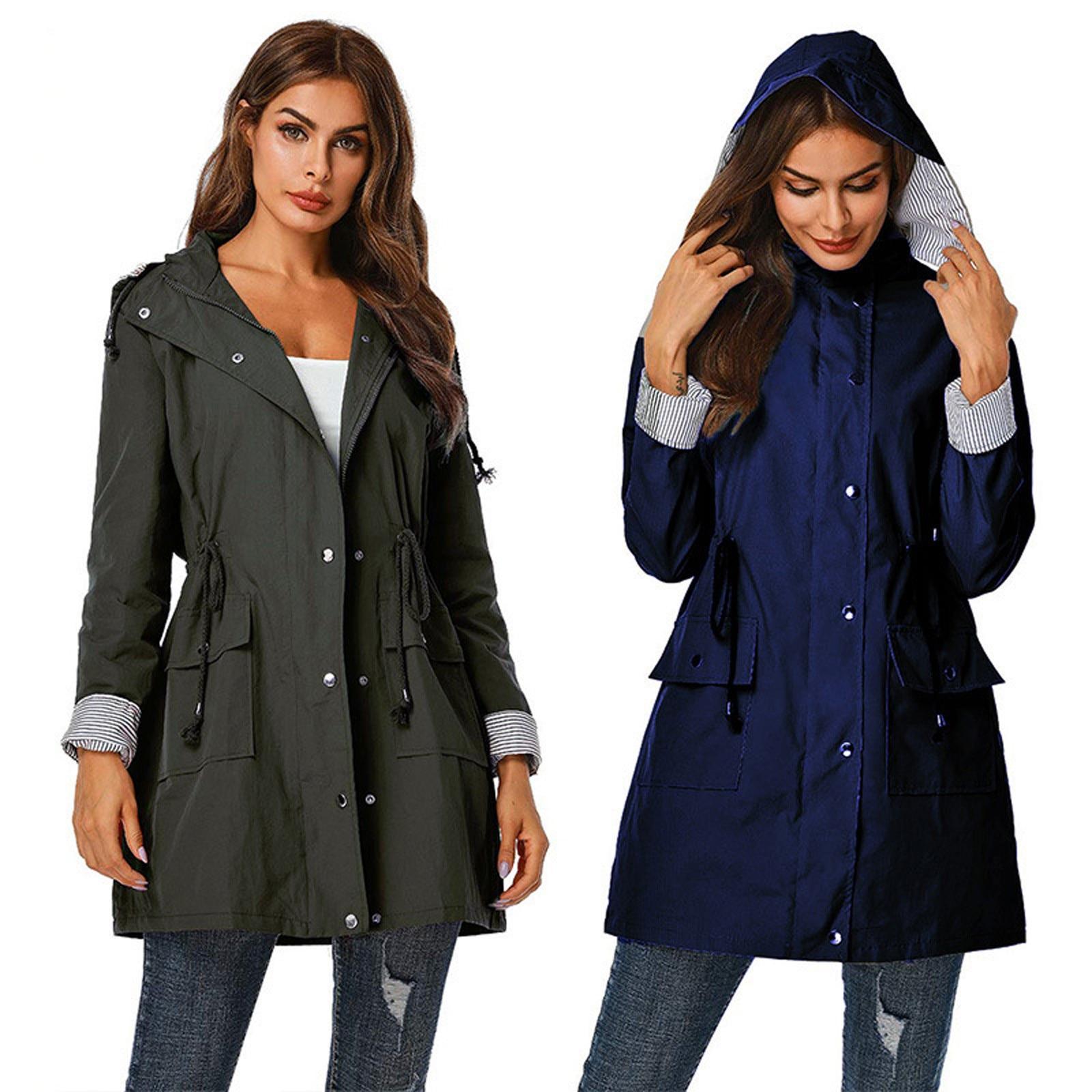 Куртка женская непромокаемая со съемным капюшоном, уличное пальто для прогулок и походов, повседневная верхняя одежда