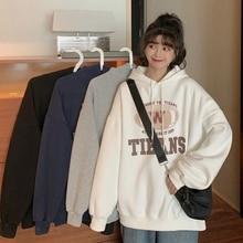 Japanese-style Vendange Waitmore Hooded Letters Best-Selling Sweatshirt Coat Female Winter Plus Velv