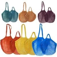 7 colors shopping bags portable net bag reusable foldable fruit storage handbag totes foldable mesh net string shopping bag