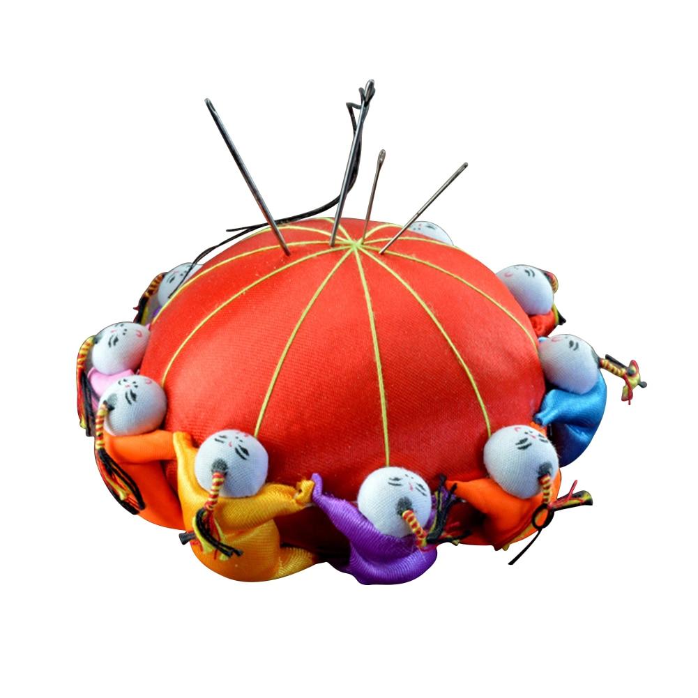 10cm DIY Handcraft herramienta de costura aguja alfiler cojín decoración del hogar serrín con 10 muñecas de estilo chino Base redonda edredones Accesorios