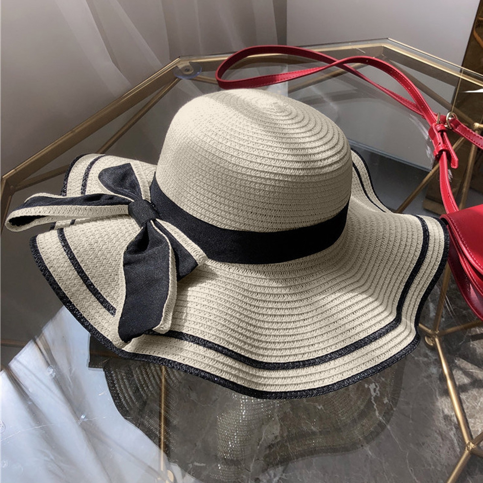 Hot Sale Flat High sun Hat Summer Spring Womens Travel Caps Bandages Beach child Traw Breathable Fashion Flower Bow Sun