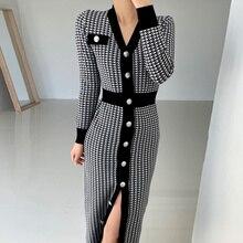 One Piece Dress Korean Chic Temperament V-neck Bird Design Slim Single Breasted Long Sleeve Knitted
