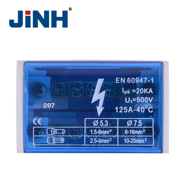 JH8207, caja de conexión eléctrica de bloque de distribución de carril din, 4 barras de bus