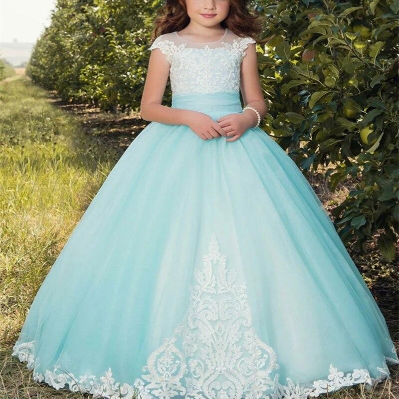 Распродажа, прекрасное бальное платье, платья с цветами для девочек, мятно-синие кружевные Детские вечерние платья, рукава-шапки, украшение ...