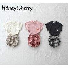 2020 Summer Girl Set Baby Short Sleeve Shorts Cute Simple Cartoon Thin Cotton Plaid Pants Set Toddler Girl Clothes
