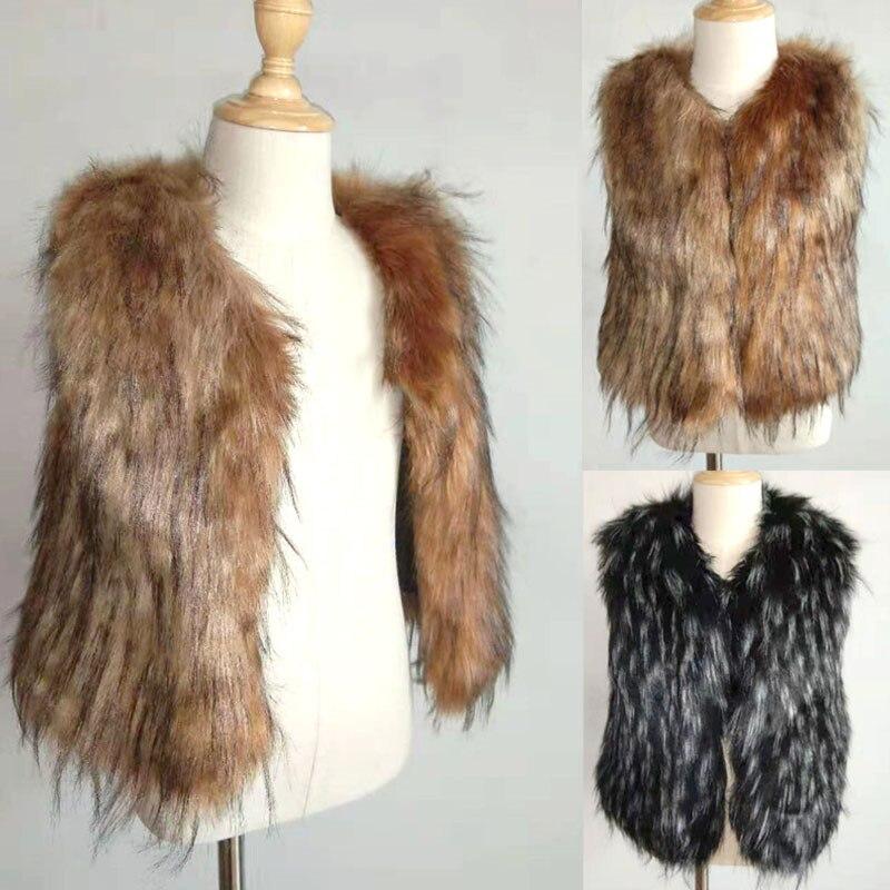 LANSHIFEI Autumn Baby Girl Kids Fur Vest Waistcoat Warm Winter Coat Outwear Jacket Sleeveless Top Fur Solid Kid Girl Clothing