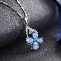 aquamarine gemstones diamonds pendant necklaces for women blue crystal white gold choker silver color jewelry bijoux bague gifts