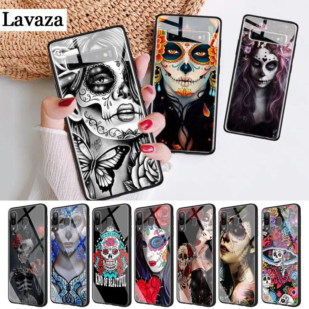 228d cráneo mexicano de la piel de vidrio caso para Samsung S7 borde S8 S9 S10 Plus Nota 8 9 10 A10 A20 A30 A40 A50 A60 A70