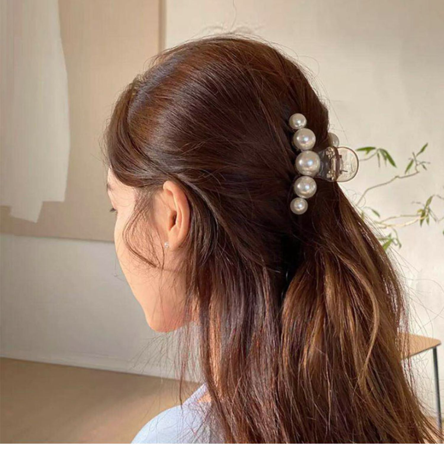 Big Pearls Hair Clip Claws Oversize Small Hair Accessories for Women Korean Black White Barrette 202