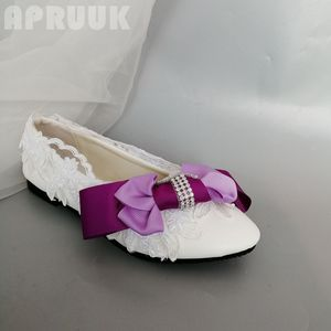 Purple violet bow handmade flats lace shoes woman handmade small big plus size flower girl lady party dinner dancing flats shoe