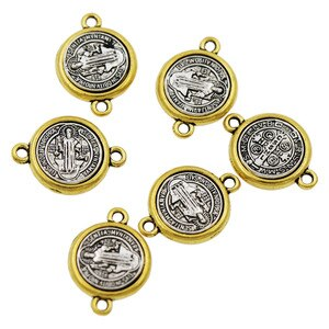 100pcs Religious 20.65x14.8mm Zinc Alloy And Saint St Benedict Medal Cross Spacer End Connecor Jewelry DIY L1698