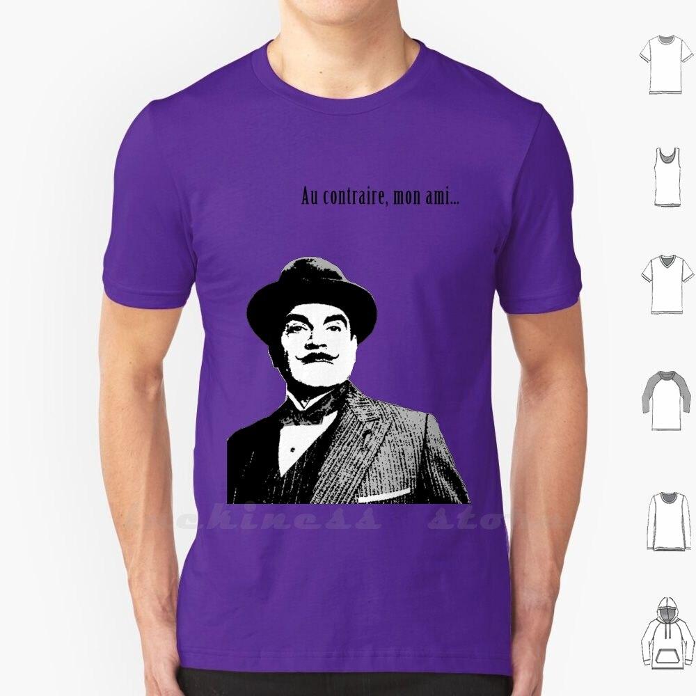 Hercule Poirot, Camiseta de algodón para hombres y mujeres, Hercule, Poirot Mon Ami, blanco y negro