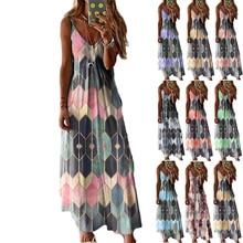 2021 New Women's Summer Casual Loose Geometric Printing Sling Skirt Plus Size Vest Beach Ladies Long