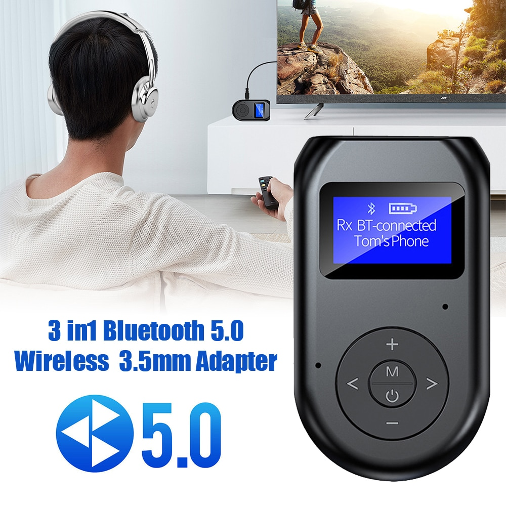 3 In 1 Bluetooth 5.0 Transmitter Receiver Wireless Audio 3.5mm Adapter for TV PC Car Accessories