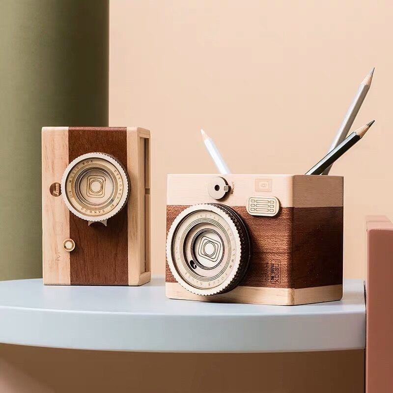 2020 Sharkbang Vintage cámara de madera lápiz titular de escritorio organizador caja de almacenamiento caja escuela Oficina papelería