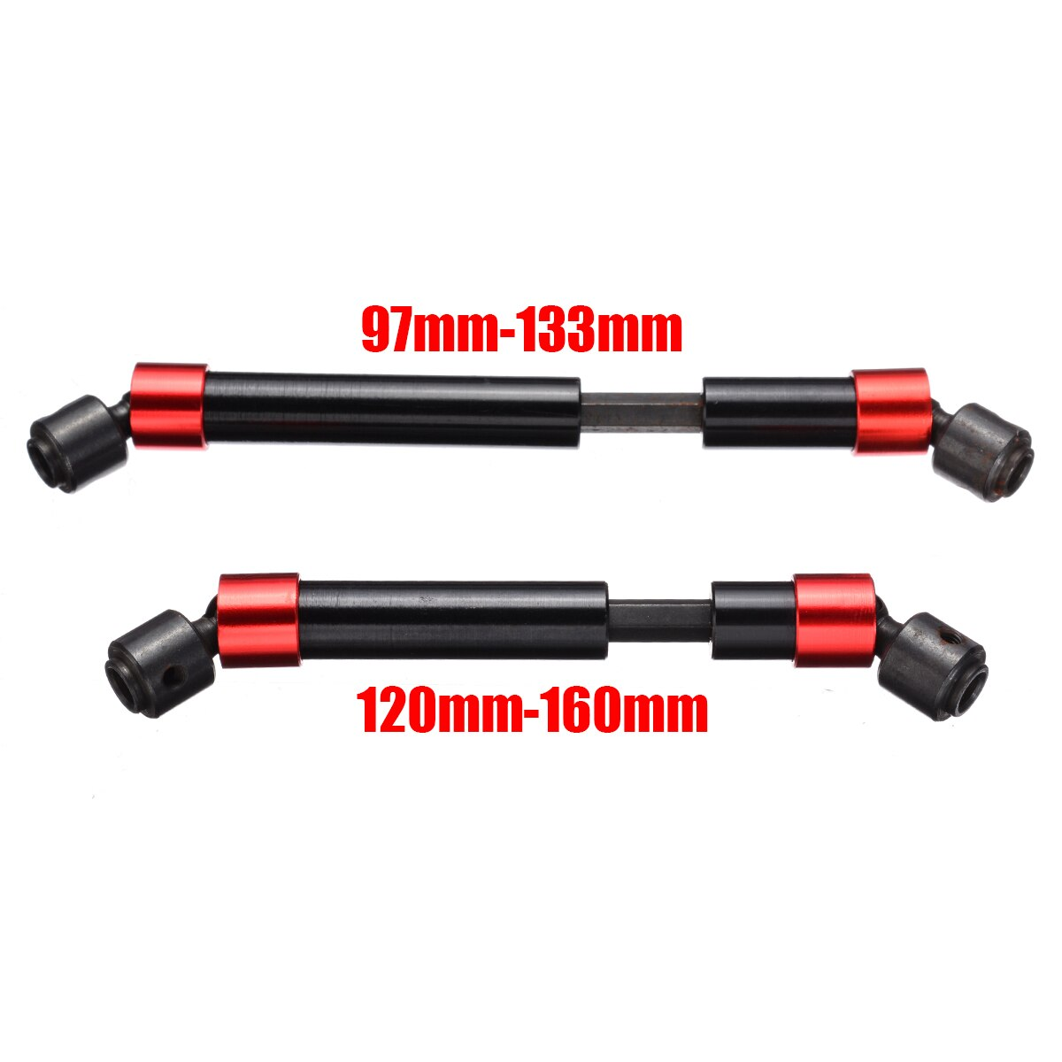 2pcs 97-133mm/120-160mm Red Black Reinforced Universal Joint Metal Drive Shaft for RC Car Part Accessories enlarge