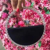 new diamond circular evening bag for women bling rhinestone handbags fashion ladies party round clutch bags and wedding purse