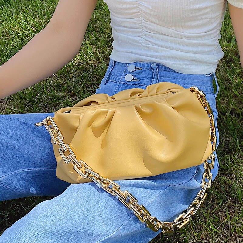 2021 Day Clutch Thick Gold Chains Dumpling Clip Purse Bag Women Cloud Underarm Shoulder Bag Bolsa mujer Pouch Totes Handbag Sacs