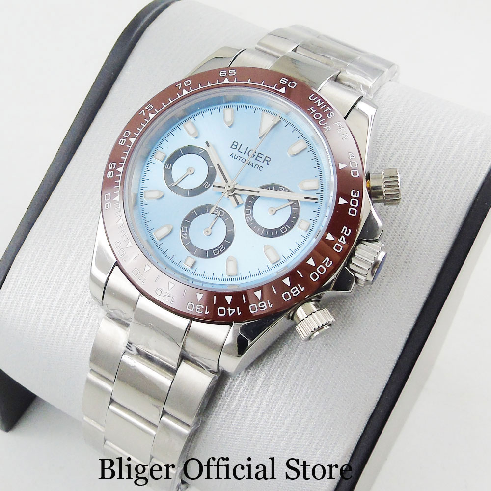2019 New Design Mechanical Automatic Men Watch Date Week Indicator Sapphire Glass 39mm Polished Case Stainless Steel Bracelet
