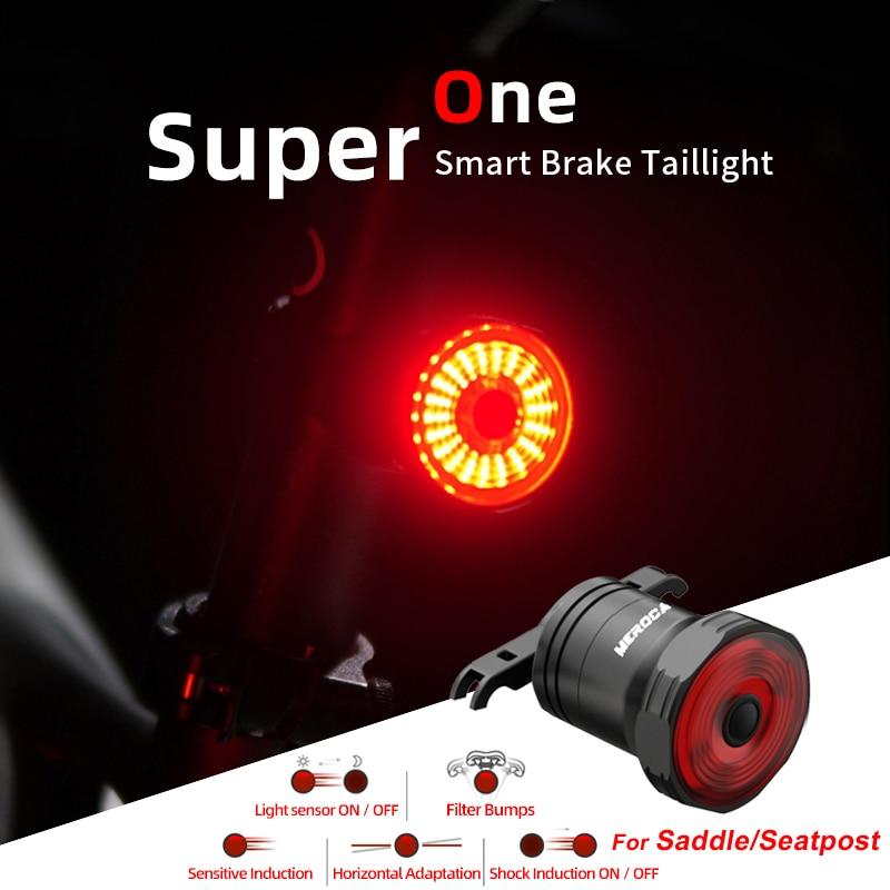 Feu arrière de vélo, feu arrière de frein Intelligent, LED avec alarme de sécurité, USB, vtt, vélo de route, pour la randonnée de nuit